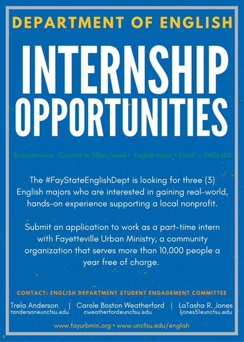 Fayetteville Urban Ministry Internship Announcement - Department of English - Fayetteville State University, Fall 2016 (Click image for larger pdf)