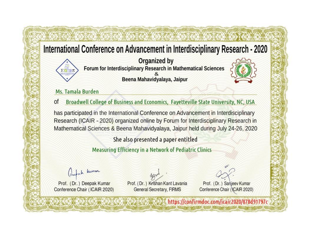 ICAIR2020 Certification