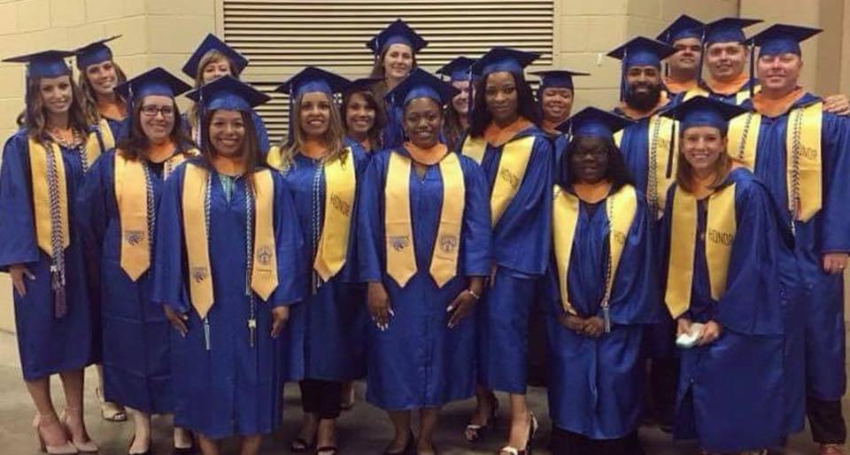 Nursing students at graduation