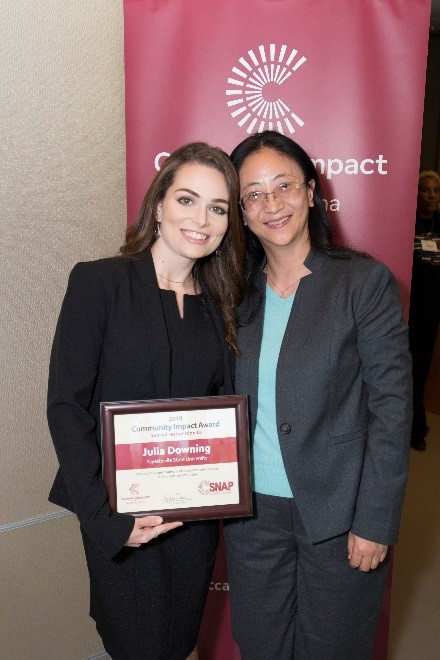 Julia Downing with faculty nominator Dr. Juan Ma