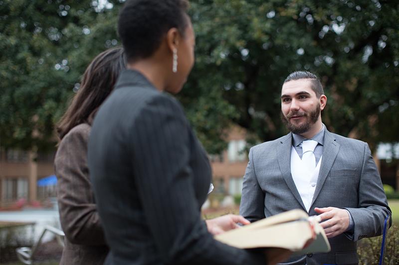 Graduate students present material