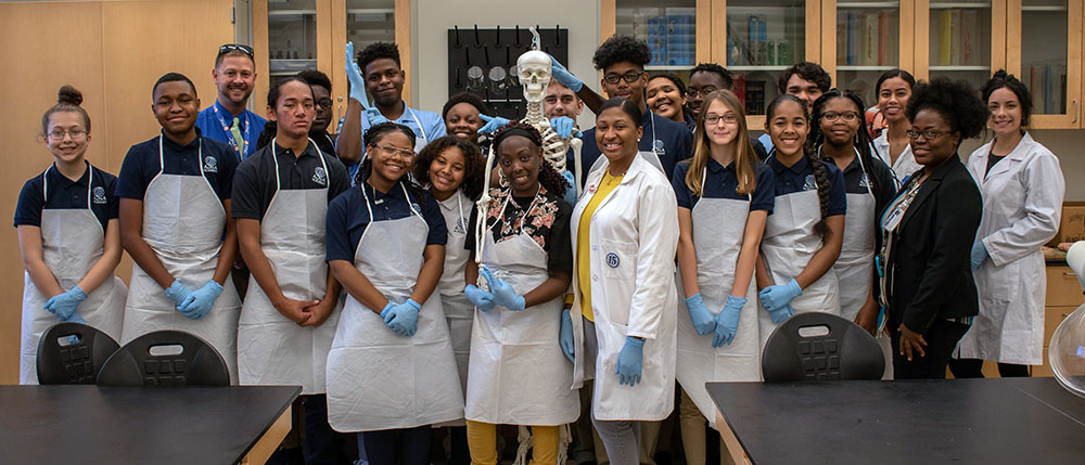 Dr. Danielle Graham and students from Alpha Academy