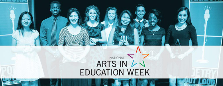 Students celebrating arts in education week