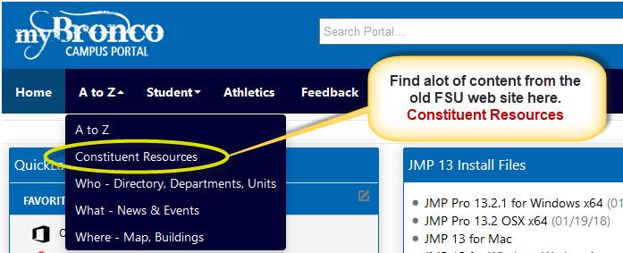myBronco Portal - Constituent Resources Nav
